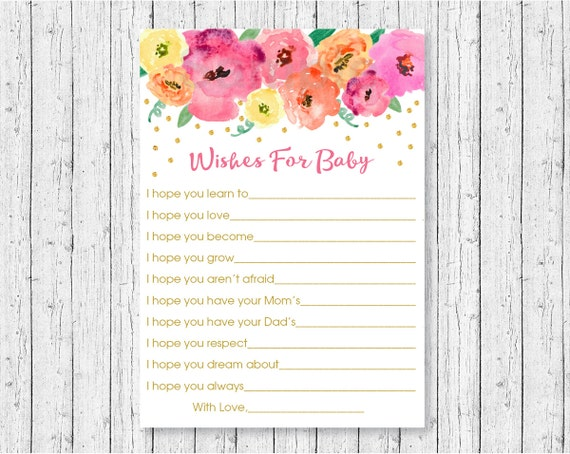 floral wishes for baby cards / floral baby shower / watercolor, Baby shower invitation