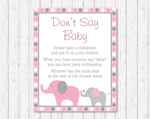 Pink Elephant Donu0027t Say Baby Game / Elephant Baby Shower / Pink U0026 Grey / Clothespin  Baby Shower Game / Printable INSTANT DOWNLOAD A334