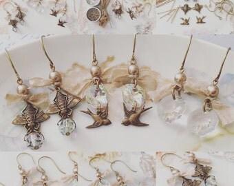 Bridesmaids Earrings - Rustic Elegance Wedding Jewelry Making Kit (makes 3 pairs)