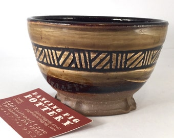 Honey Glaze Bowl - the right size for Soup or Cereal - Matching Tableware - Sca Medieval Feast Gear - Geometric Pattern - Snack Bowl