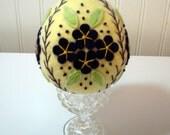"Hand Stitched Wool Felt Easter Egg - 4-1/2"" - Fiber Art Egg - Egg - Folk Art Egg - Easter Decor - Easter Egg - Holiday Decor - Fiber Art"