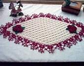 Victorian Rose Garden Centerpiece Runner Crochet Thread Art Doily Reserve for Rhonda, rhondahhartwig395