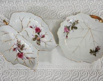 Vintage Set of 2 Leaf Shaped Moss Rose Floral Dishes - Japanese
