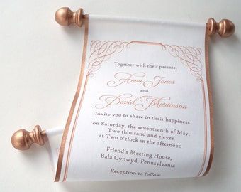 Romantic Calligraphy Wedding Invitations , set of 10
