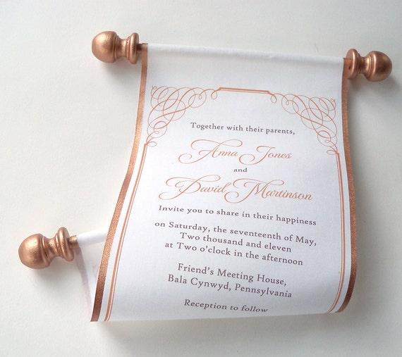 Medieval wedding invitation geek weeding copper invitations