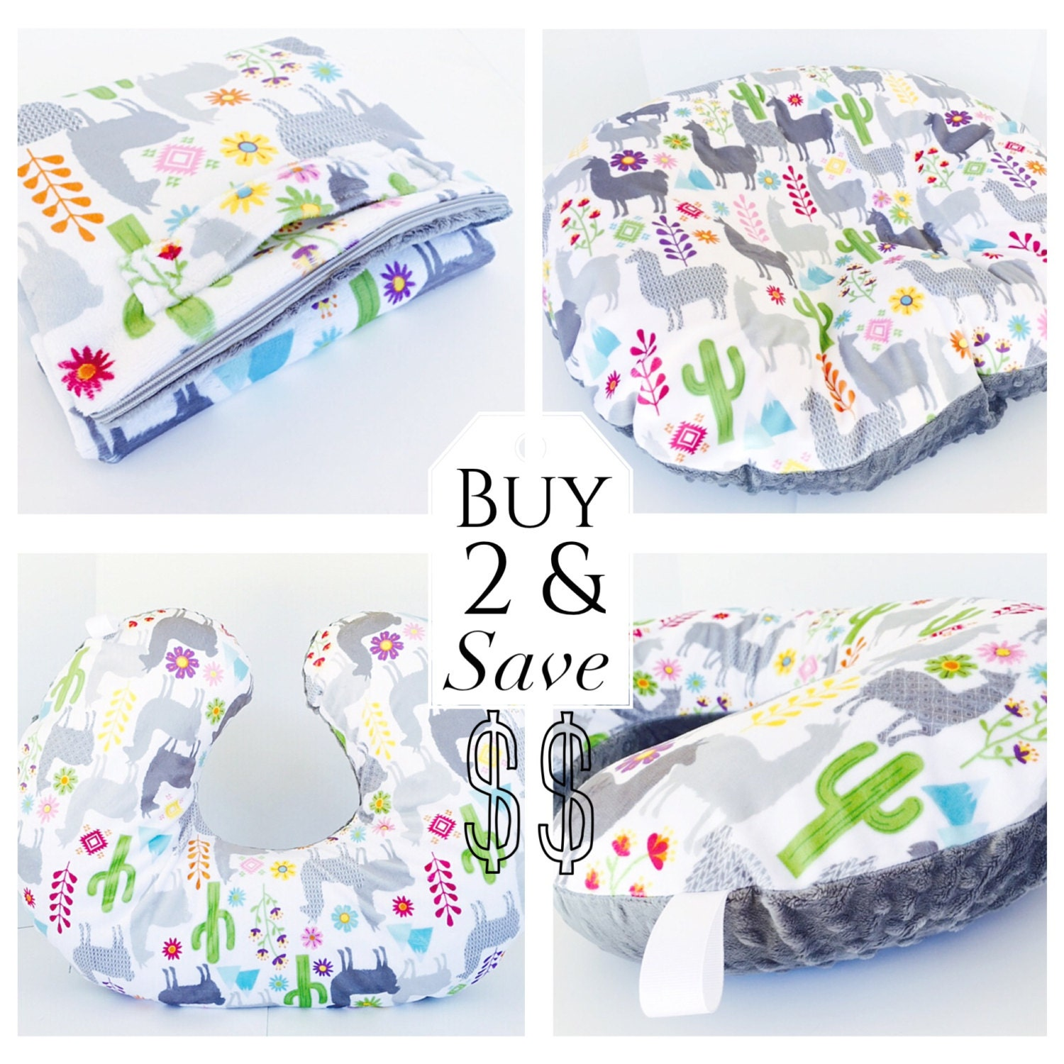 Boppy Slipcovers Set Zipper Closure Llama Minky Print With