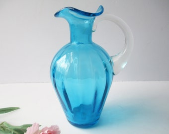 Vintage Bright Blue Pitcher/Vase - Cottage Chic