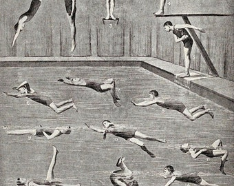 Boys Swimming Diving Athletic Edwardian Reference Chart Montage to Frame