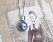 sterling silver skull necklace - tiny skull wax seal necklace - memento mori - antique wax seal jewelry - minimalist necklace