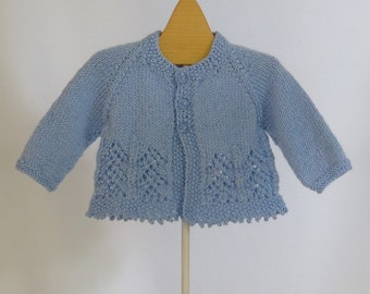 Baby Girl Sweater Pale Blue  3 months Ready to ship
