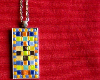 Mosaic Spring Time Pendant Geometric. Tiny Tiles in Yellows Blues Oranges Greens. Adhered and then Resined. Spring. Copper Colored Metal
