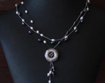 Black and White Freshwater Pearl Necklace with Silver Flower