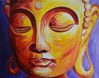 Gold Buddha with purple Original Oil Painting
