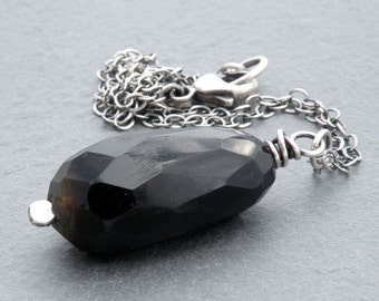 Faceted Obsidian Pendant Necklace, Black Gemstone Faceted Teardrop, Black Gemstone Pendant, Short or Long Necklace, Sterling Silver, #4635
