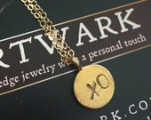 24K gold vermeil childrens style handstamped valentines xo round disc coun charm pendant love necklace