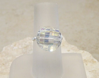 AB Crystal Bead Wire Wrapped Ring, Silver Bead Ring, Silver Wire Wrapped Ring, Crystal Bead Ring, Size 8 Ring