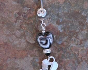 BACK 2 SCHOOL SALE Black Heart Lampwork Glass Bead DeSIGNeR Belly Button Ring Navel Piercing Tattoo Key to My Heart