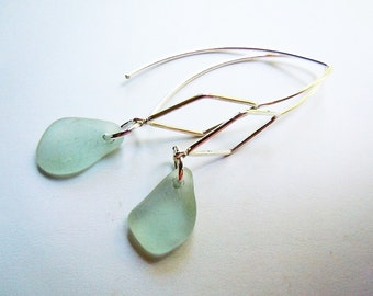 Sterling Earrings Marquis Style Sea Glass