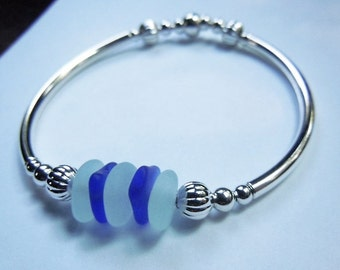 Sea Glass Bracelet Stretch  SeaGlass Bracelet Sea Foam and Blue Beach Glass Jewelry, Silver Beach Glass Bracelet