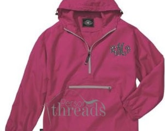 Monogrammed, Personalized Pullover Jacket,  Lightweight Rain Jacket,  Sorority,  Greek,  Charles River Pack-N-Go Pullover