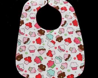 Baby Bib - Bib For Baby - Cupcakes - Girl Baby Bib - Drool Bib - Infant Bib - Baby Bib Girls