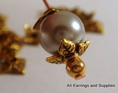 60 Gold Bead Caps Flower Tibetan Silver Antique Plated 6mm - 60 pc - F4109BC-AG60