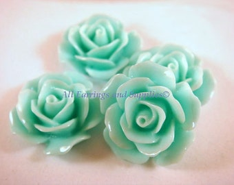 4 Seafoam Rose Cabochons Green Acrylic Opaque Flowers 17mm - No Holes - 4 pc - CA2029-S4