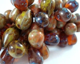 25 Czech Teardrop Amber Picasso Autumn Mix 9x6mm Top Drilled 1mm hole  Full Strand - 25 pc - G6068DR-DKMIX25