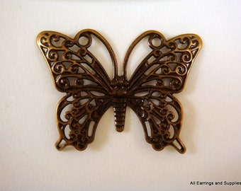 2 Antique Brass Butterfly Focal Pendant Single Sided Drops 36x26mm - 2 pc - 5773-20