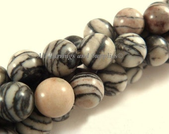 50 - 8mm Stone Beads Black Silk with Stripes Natural Round Semi precious C Grade - 16 in - 6317