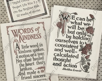 Instant Download Printable 52 week Quote Cards 3x4 Project Life sized