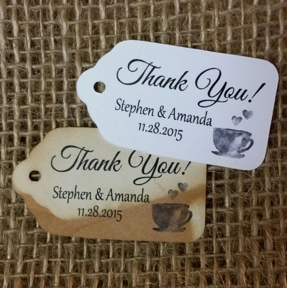 Thank you with Tea Cup Coffee Cup MEDIUM Personalized Wedding Favor Tag  choose your amount