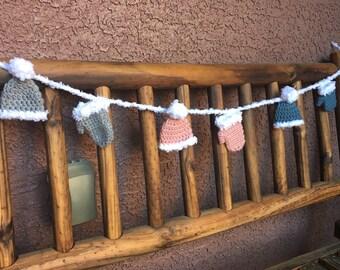 Winter Hats and Mittens Crochet Garland