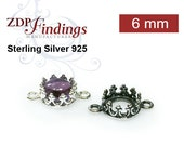 10pcs x Quality Cast  6mm Round Bezel Cups Connectors  Sterling Silver 925, Choose your Finish (9570SV)