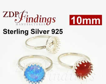 1pc Sterling Silver 925 Crown Cup on Solid Band Ring Base Blanks, Choose your Size (R8091SH)