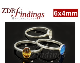 2pcs x 6x4mm Oval Sterling Silver 925 Bezel Cup on Ring, Select Your Ring Size. (R064)