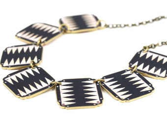 Zig Zag Linked Necklace, Black and White Jewelry, Game Board, Backgammon, Tribal Jewelry, Tribal Necklace, Shrink Plastic, Ethnic Jewelry