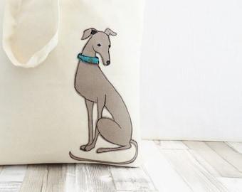 Cotton grocery bag, cotton market bag, book tote, reusable bag, applique dog eco bag, greyhound applique, calico bag