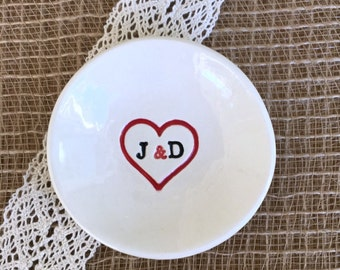 Lovers Ring & Jewelry Dish - You Plus Me - Initials in Heart, Ring Bowl, Ring Dish, Wedding Ring Dish, Ring Holder, Valentine's Day Gift