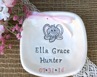 New Baby Keepsake Plate - Baby Elephant Ceramic Birth Announcement,New Baby Gift,Nursery Decor,Personalized Baby Gift,Birth Announcement Art