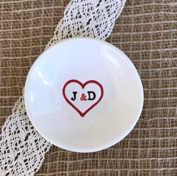 Lovers Wedding Ring Holder or Engagement Ring Holder - You Plus Me - Personalized Ceramic Ring Dish with Heart and Initials