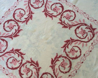cross stitch table topper . embroidered table topper . cross stitch tablecloth . 40s embroidered table topper . linen table topper