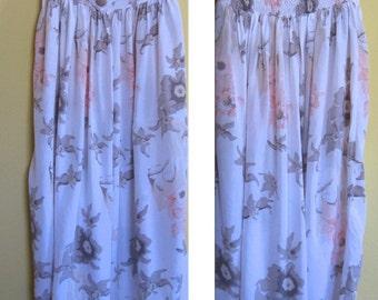 smocked waist skirt . high waisted skirt .  princess cut skirt .  rayon skirt