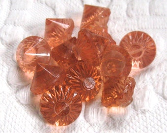 12 glass buttons . art deco glass buttons  . vintage glass buttons . pink glass buttons . lot of 12 . pink depression glass buttons
