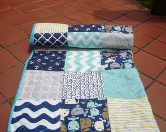 Baby quilt,Nautical Baby quilt,grey,navy,teal,yellow,aqua,Baby boy bedding,baby girl quilt,anchors,whale,chevron,ropes,crib,Whale Watching