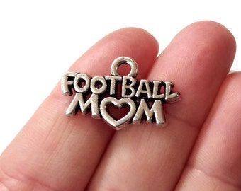 "20 BULK, ""Football Mom"" Charms 25x16mm ITEM:AW59"
