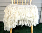 Throw Blanket Crocheted with Fringe-Cream Blanket, Handmade Afghan, Home Decor, Bedroom, Neutral Interior Palate- READY TO SHIP