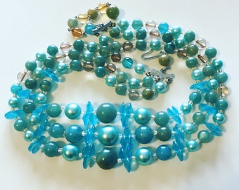 JAPAN Signed 1950's 3 Strand Necklace Sea Green and Blue