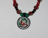 Cardinal Christmas beaded necklace and earrings