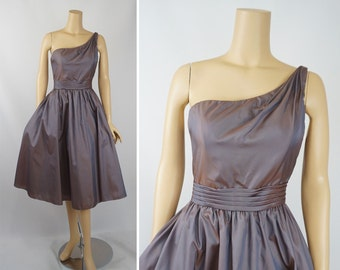 Vintage Party Dress Iridescent Taupe Taffeta One Shoulder Formal with Pockets by Mori Lee B40 W30